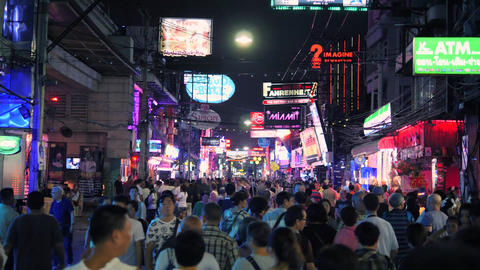 Crowds of Mixed Race Tourists Walk on Walking Street in Pattaya, Thailand Footage