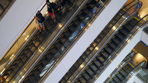 4K Time Lapse: People on Escalators in Big Shopping Mall Complex. Terminal 21 - Footage