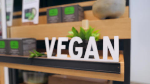 Vegan Cosmetics Section Sign in Ethical Shop. No Animal Testing Healthy Body Footage