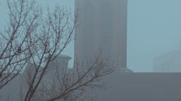 Vertical Panorama of a Mystical Catholic Church in the Fog Footage
