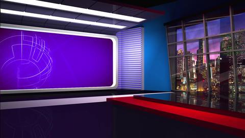 News TV Studio Set 284- Virtual Background Loop ライブ動画