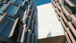 Horizontal Panorama Of Entrance to the Modern Business Office Building in City Footage