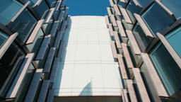 Vertical Panorama Of Entrance to the Modern Business Office Building in City Footage