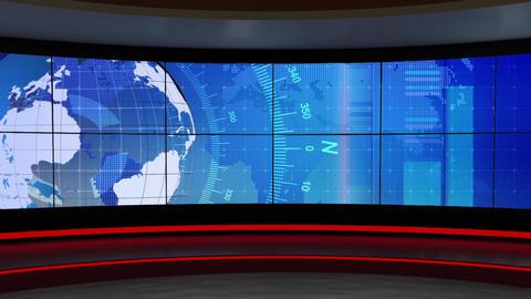News TV Studio Set 302- Virtual Background Loop ライブ動画