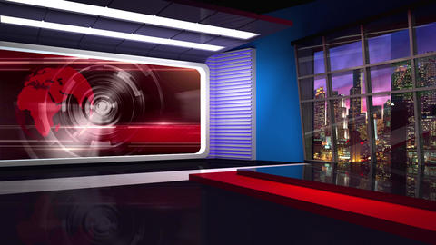 News TV Studio Set 304- Virtual Background Loop ライブ動画