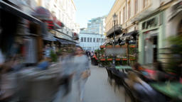 Hyperlapse of a Tourist Busy Street with Cafe in Bucharest, Capital of Romania Footage