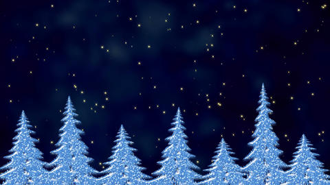 Pine trees in the starry night, frosty landscape, winter magical scene with Animation
