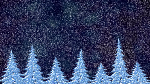 Pine trees at snowfall at night, frosty landscape, winter snow scene with forest Animation