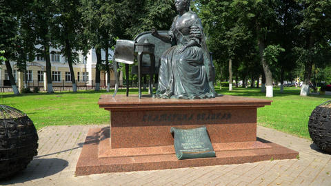 The monument to Catherine II in Podolsk. Park near the train station Podolsk Footage