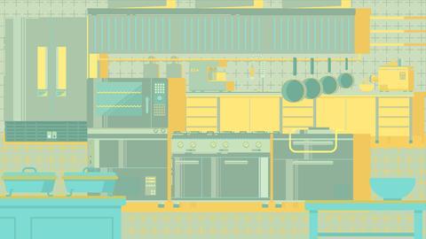 Kitchen flat illustration フォト