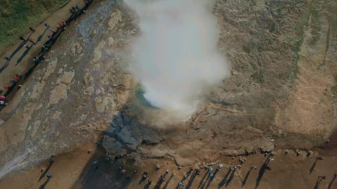 Aerial Drone View Of A Geysir - Geyser Erupting Top Footage