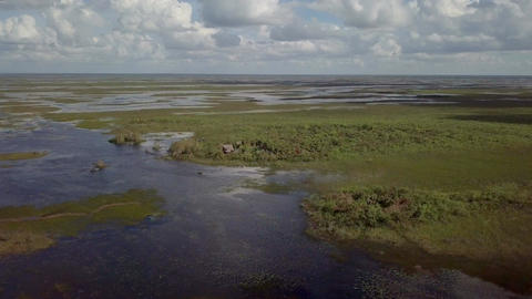 Aerial Over Head Shot Of The Florida Everglades Footage