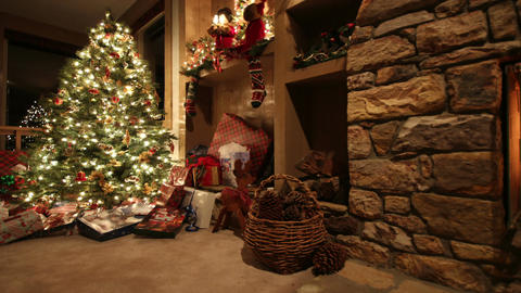 Fireplace and christmas presents Footage