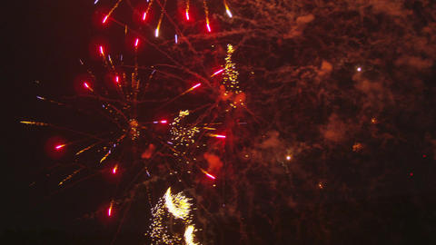 Red yellow fireworks exploding Footage
