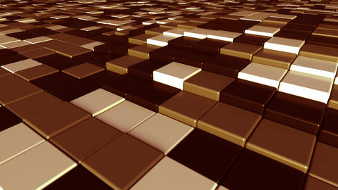 Moving brown square tiles motion background, seamless loop Footage
