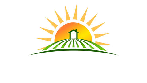Sun with House in Field Logo.Video Animation HD Animación