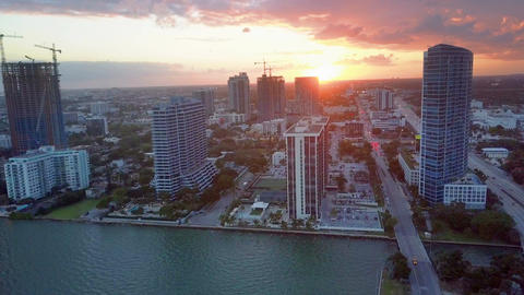 Sundown Behind a Miami Skyline from Biscayne Bay Florida Footage
