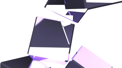 Metal Cubes Abstract On White Background Stock Video Footage
