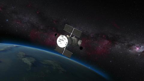 Hubble satellite on top of earths atmosphere Footage