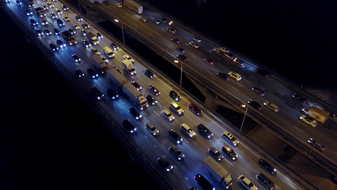 Aerial timelapse of traffic jam on city highway in the evening rush hour Footage
