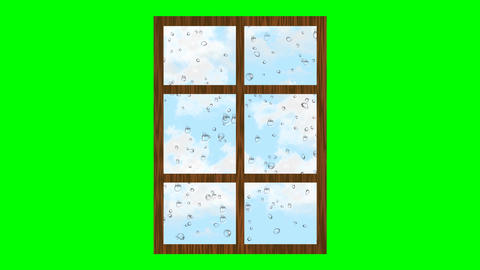 Rainy weather, drops rolling on glass and clouds flying in the sky. Animated Animation