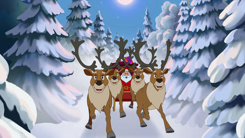 Christmas animated card with hares and Santa Claus Animation