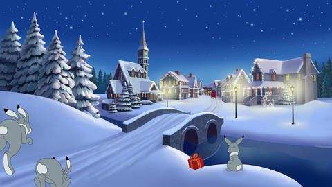 Christmas animated card with hares and Santa Claus Stock Video Footage