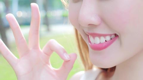 woman with health teeth Live影片