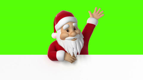 Santa Claus waving on a green background Animation