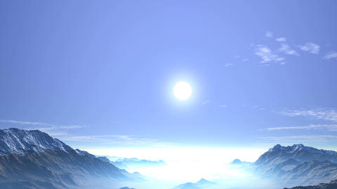 Misty Sunrise over a Mountain Valley Animation