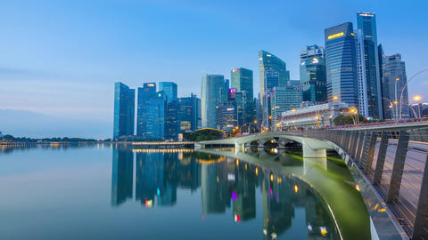 Morning in the Center of Singapore. Editorial Use Only. Time Lapse Footage