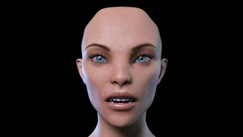 Digital 3D Animation of a morphing female Face Stock Video Footage
