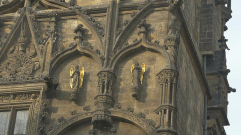 Gilded Angels on Prague Tower Image