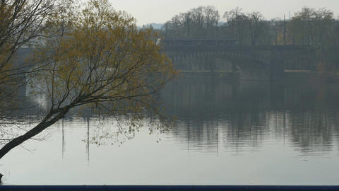Vltava River Bridge Footage