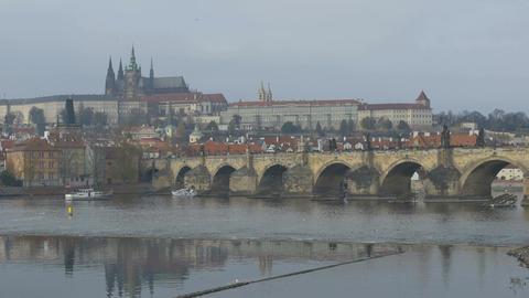 Carol Bridge in Prague Footage