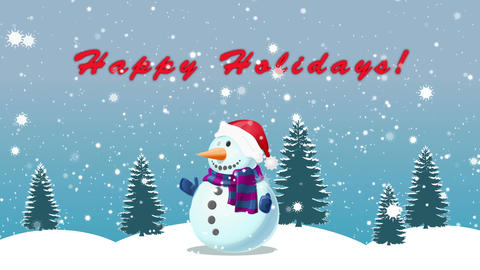 Snowman and Happy Holidays Title Animation