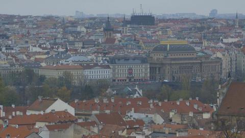 Prague City Top View Footage