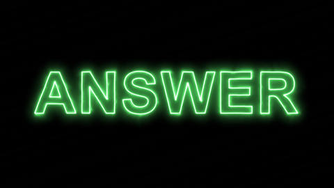 Neon flickering green text ANSWER in the haze. Alpha channel Premultiplied - Animation