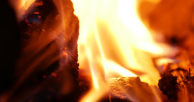 Warm fire burning in the Fireplace Footage