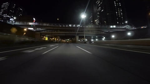 Driver POV through the empty Bayshore Highway at Odaiba Footage