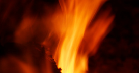 Hot Fire Burning In The Fireplace stock footage