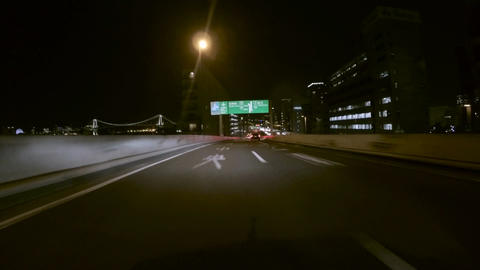 Driver view through the Hamazakibashi JCT on to the ramp to Rainbow Bridge Footage