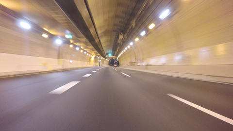 Driver POV through the new C2 highway tunnels in Tokyo Footage