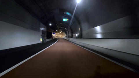 Driver view through the tunnels and curves of the new C2 at Ohashi junction Footage