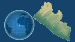 Liberia and Globe. Relief Animation
