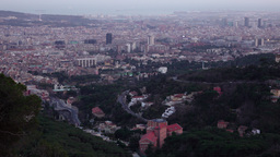 Aerial Barcelona panorama in dusk, static view from Tibidabo mountain at evening Footage