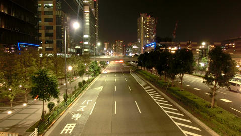 High angle nightlapse of city traffic in residential area of Tokyo Footage