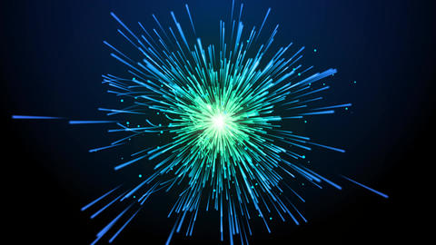 Particle explosion in blue and green color Animation