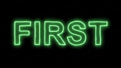 Neon flickering green text FIRST in the haze. Alpha channel Premultiplied - Animation