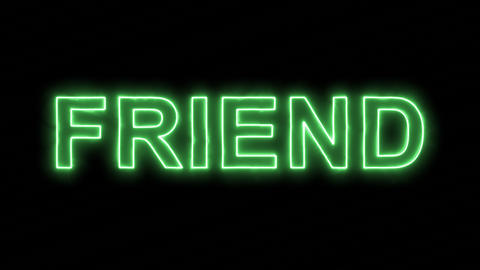 Neon flickering green text FRIEND in the haze. Alpha channel Premultiplied - Animation